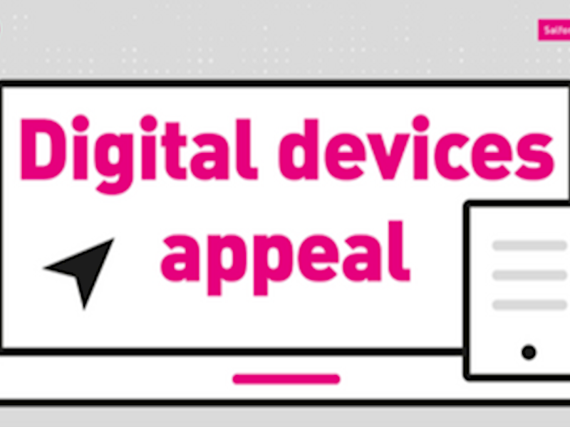 A graphic of a laptop and mobile phone with digital devices appeal written on the screen