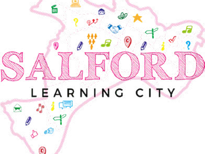 a cartoon map of Salford overlaid with the text Salford Learning City